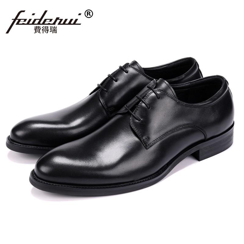 Classic Genuine Leather Man Wedding Party Derby Shoes Basic Designer Handmade Round Toe Men's Formal Dress Prom Footwear JS160 цена