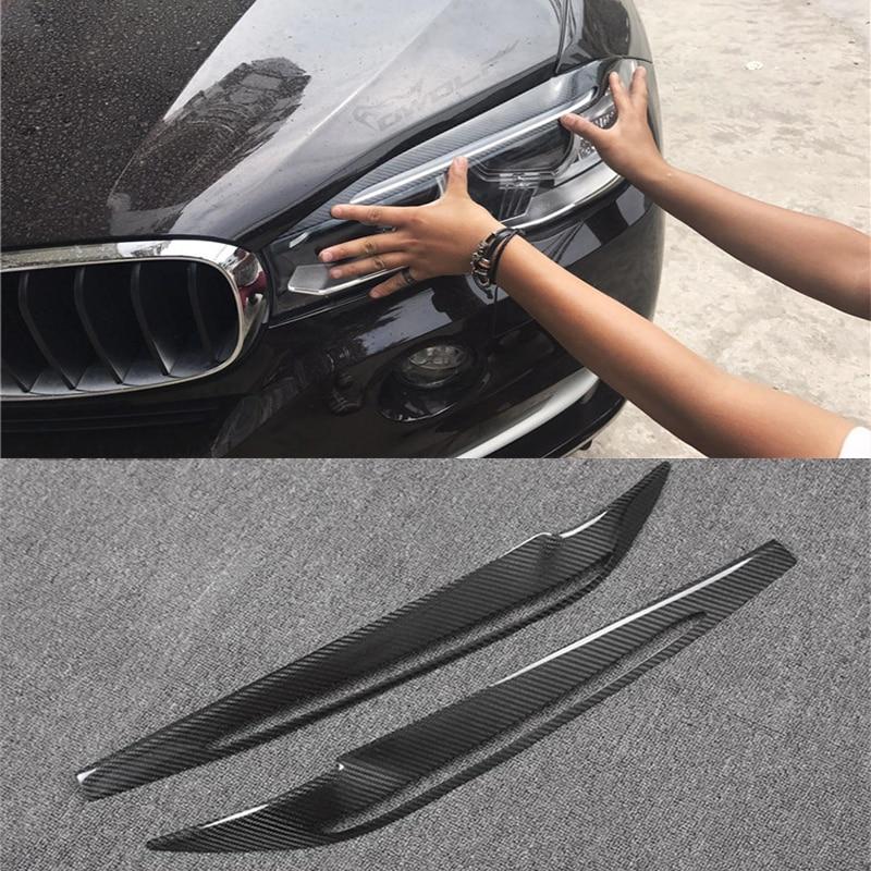 X5 F15 Carbon Fiber Car Headlight Eyelid Eyebrows Cover Trim Sticker for BMW X5 F15 2014-2017