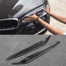 X5 F15 Coche De Fibra de Carbono Faro Párpados Cejas Cubierta F15 Pegatina Ajuste para BMW X5 2014-2017