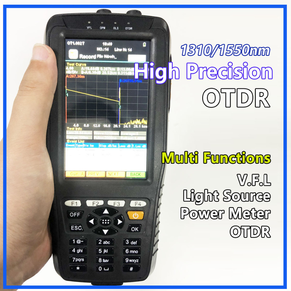 Di alta Precisione OTDR Tester Optical Time Domain Reflectometer 4 in 1 OPM OLS VFL Touch Screen 3m per 60km Gamma di Strumento Ottico