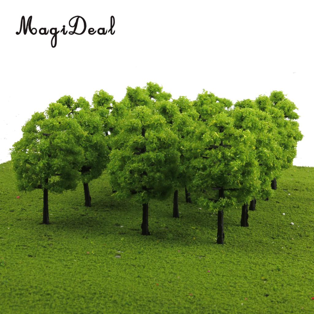 MagiDeal 20Pcs/Lot 1/100 Scale Mini Plastic Model Trees Train Railroad Scenery For House Classroom Park Layout Scene Kids Toy