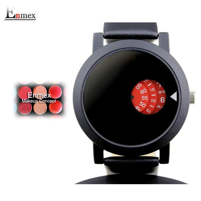 Prix pour Enmex creative design madame montre-bracelet temps coloré brève simple temps dans la circulaire maquillage concept de mode montres à quartz