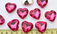 set of 100pcs 3D Faceted Acrylic Heart Bling Rhinestones/Gems hot pink 25mm you pick colors