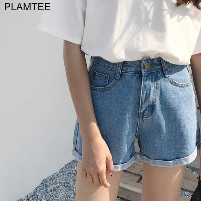 PLAMTEE 2017 Nouvelle-Coréen Style Large Jambe Jeans Court Femmes Slim Taille  Haute Court Feminino 2bc2b757160