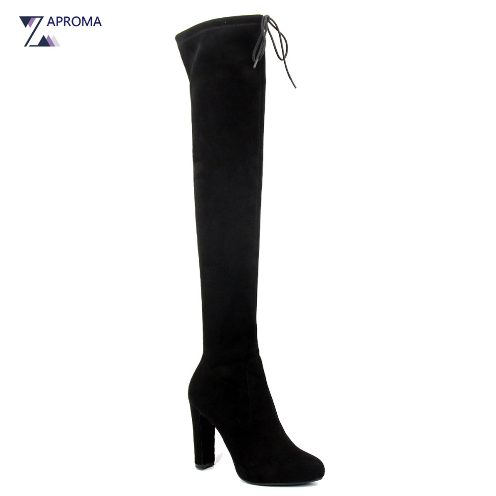 Chic Lace Up Thigh High Boots Women Fashion Over the Knee Stretch Fabric Highland Boots Suede Super High Chunky Heel Long Shoes womens lace up over knee high suede women snow boots fashion zipper round toe winter thigh high boots shoes woman