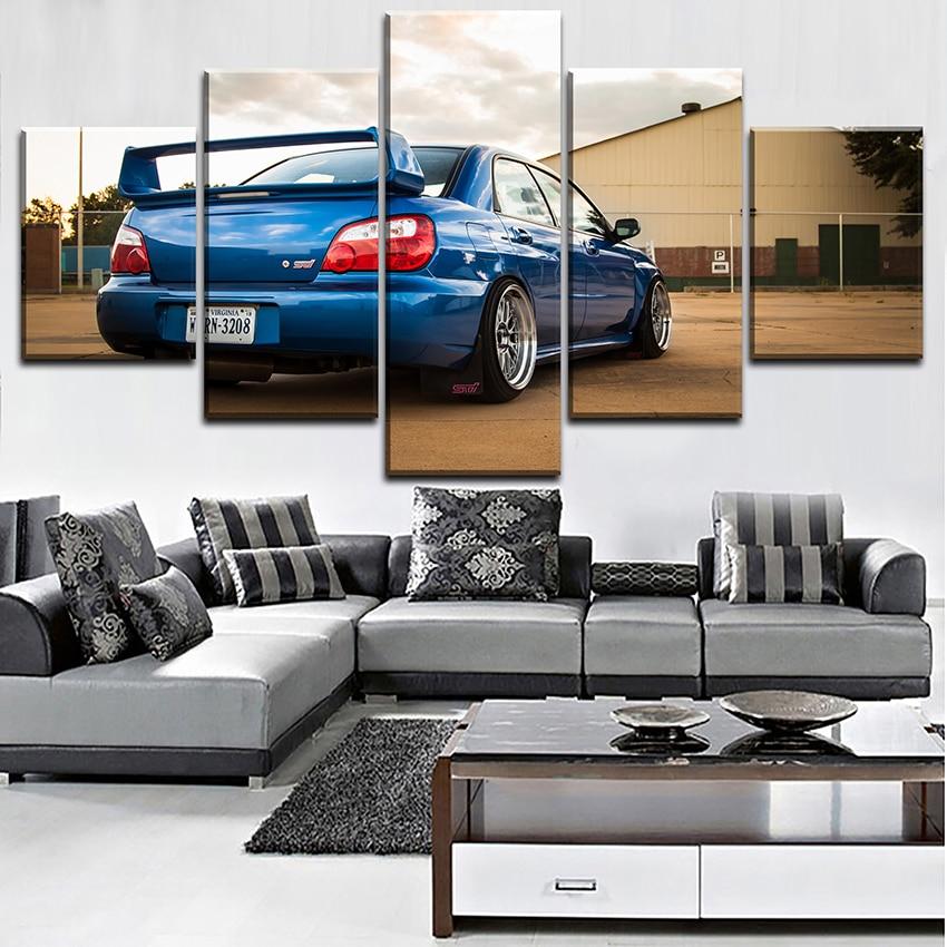 Subaru STi Blue Car Painting Modern Home Decor Canvas 5 Piece HD Print Wall Art Living Room