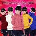 2016 Boys & Girls Roupas de Inverno Pullover Camisola Crianças Roupas de Tricô Camisola de Gola Alta Quente Meninas 2-15 Anos de Idade As Crianças roupas