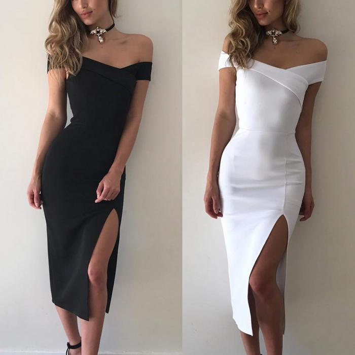 29c105db533 Sexy Women Off Shoulder Cross Dress Stretch Short Sleeve Elegant Bodycon  Side Split Party Dresses -MX8