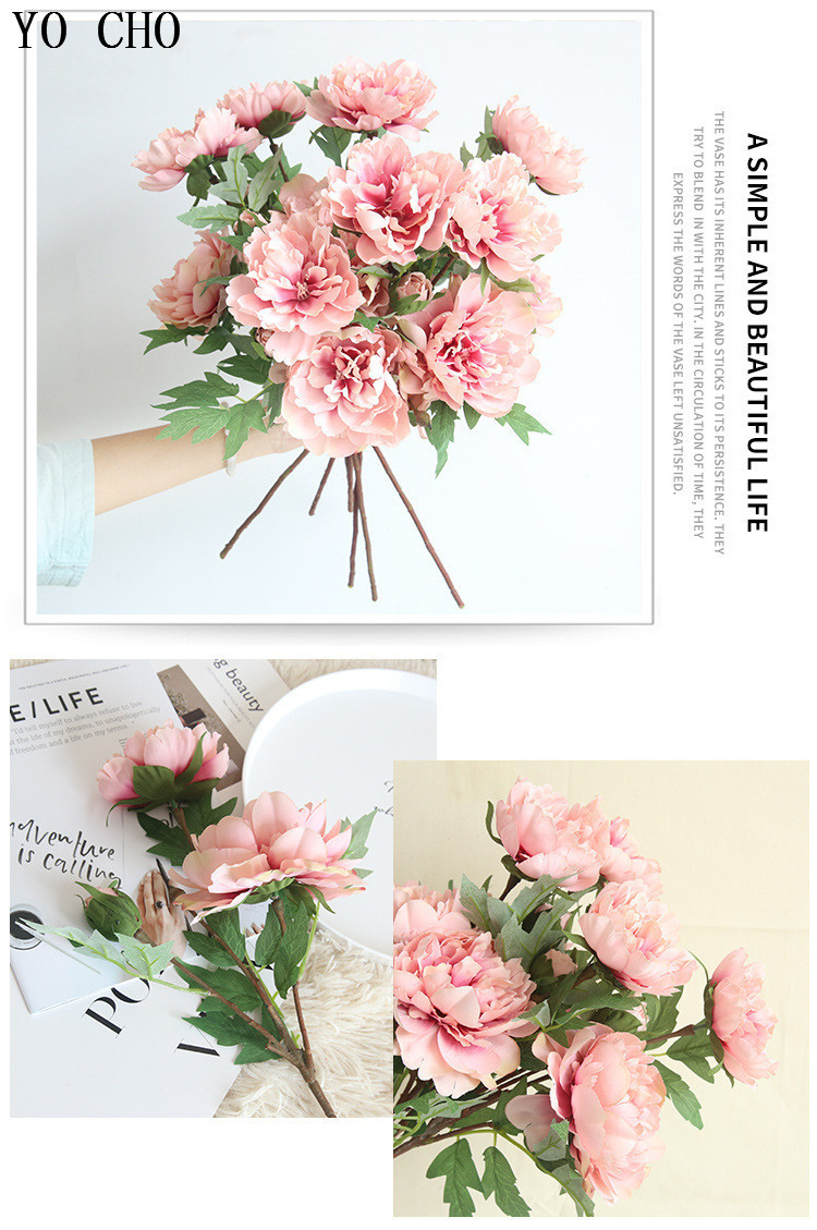 Chinese national flower peonies  simulation big peony flowers for home, living room, bedroom, party,wedding,hotel,shopwindow  decoration arranging flower accessories for christmas new year Halloween Thanksgiving Anniversari (6)