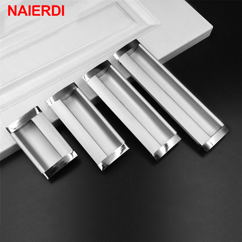 NAIERDI Aluminum Alloy Handles Modern Embed Knobs Kitchen Cabinet Cupboard Door Drawer Handle Wardrobe Hidden Pulls Hardware