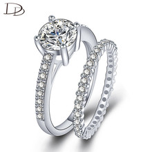 Wedding Luxurious Full AAA Zircon Ring Sets For Women Fashion 2pcs White Gold Color Rings Banquet Fashion Jewelry