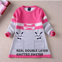 2016 New Arrival Double Layer Long Sleeve Kids Fox Thick Fox Sweater Dress For Children 4