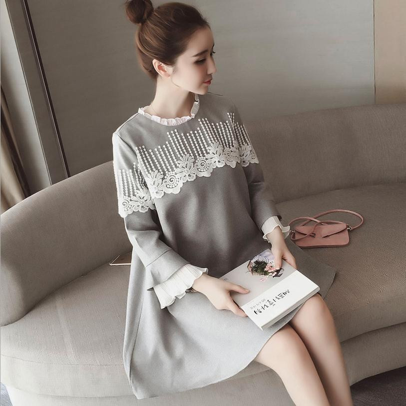 2018 spring and autumn new fashion brand Korean womens mace ruffles stand collar lace stitch A word dress wj245