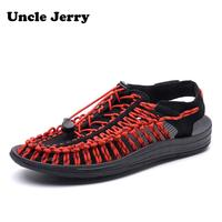 UncleJerry Summer Sandals for Men, Women,Boys and Girls Breathable Shoes Woven Upper Slip on Beach man Sandal