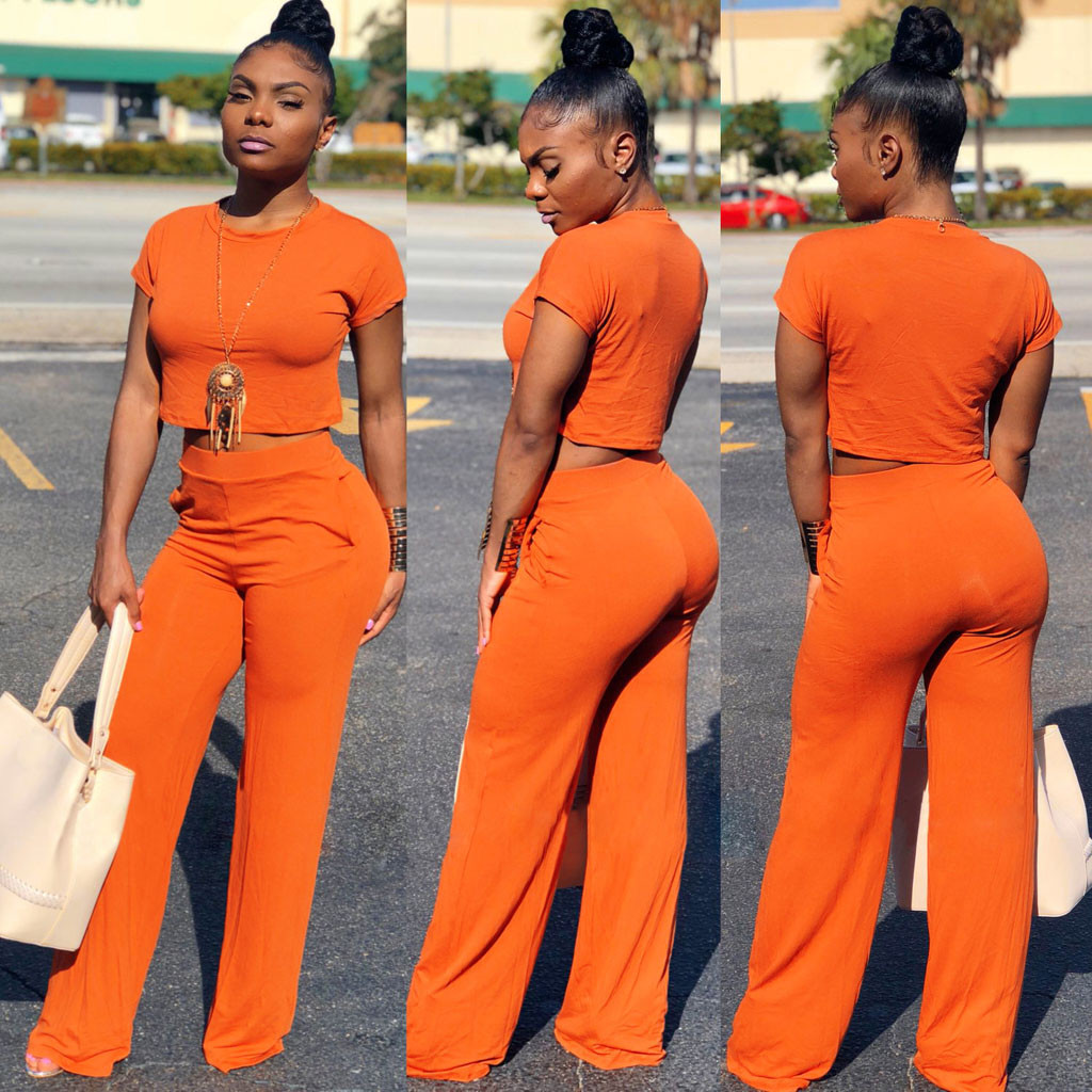 b0a081a398c US $7.17 43% OFF|Round Neck 2 piece outfits for women elegant Short Sleeve  Solid two piece set top and pants summer Wide Leg Pants Jumpsuit-in Women's  ...