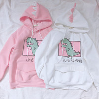Cute Dinosaur Pattern Women's Hooded Sweatshirt Kawaii Harajuku Girl Student Casual Pullover Autumn Winter Hoodies Pink & White