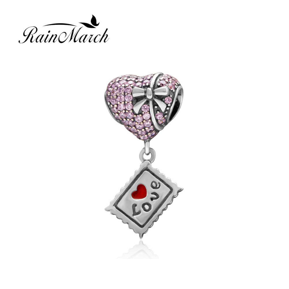 Original 925 sterling silver Love Heart Pendant Beads with Cubic Zirconia Fashion Jewelry DIY Fit Pandora Charms bracelets