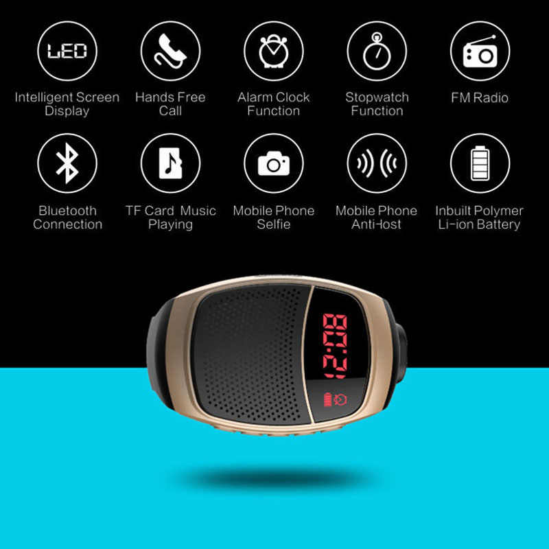 B90 Smart Jam Tangan Bluetooth Speaker Stopwatch Alarm Clock Olahraga Musik Watch Hands-Free FM Radio Self-Timer Anti -Kehilangan Alarm