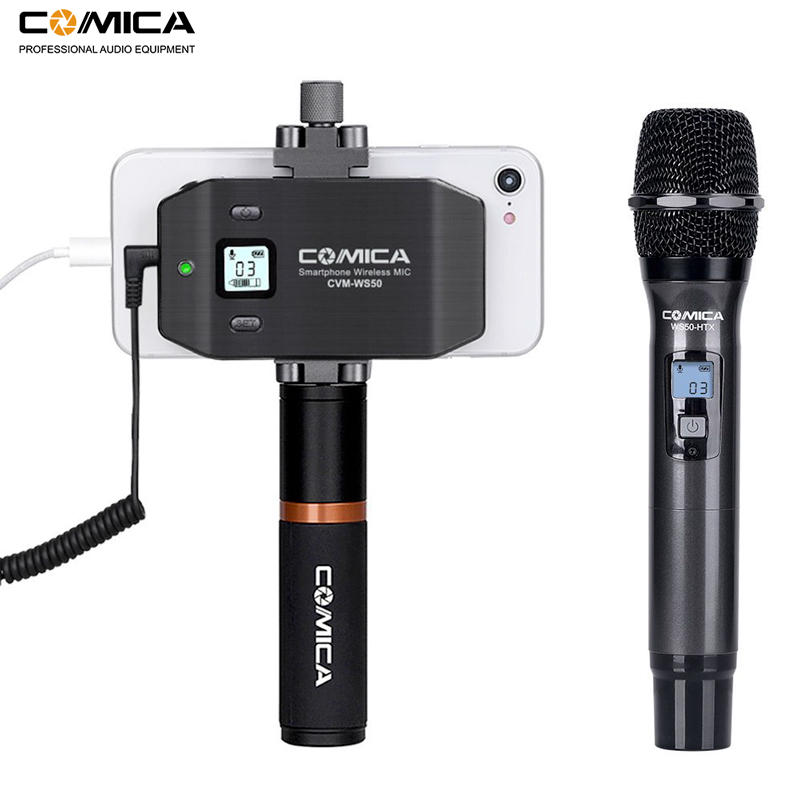 Comica CVM WS50 H 6 Channels Wireless Smartphone Microphone System Handheld Microphone for iPhone Samsung Huawei