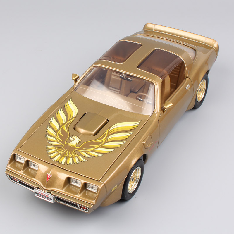 1:18 big Scale brand luxury large Miniature Pontiac 1979 Firebird trans AM vintage car diecast models toy for boy Gold Silver 1 38 china gold dragon bus models xml6122 diecast bus model gold