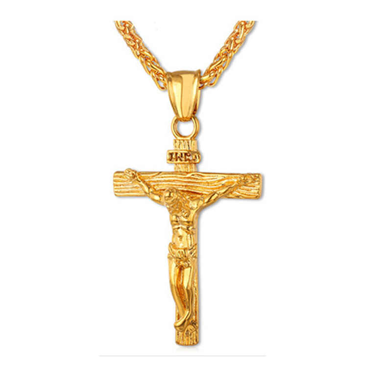 CLASSIC Gold เงินทิเบตสี CROSS จี้สร้อยคอโลหะพระเยซู Cruz สร้อยคอสำหรับผู้ชายผู้หญิง Christ ตรึงกางเขนเครื่องประดับชาย