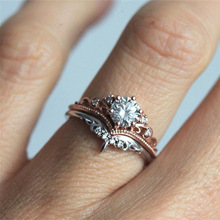 New White Austrian Crystal  Female 925 Silver Crown Wedding Rings Sets Jewelry Bridal Promise Love Engagement for Women