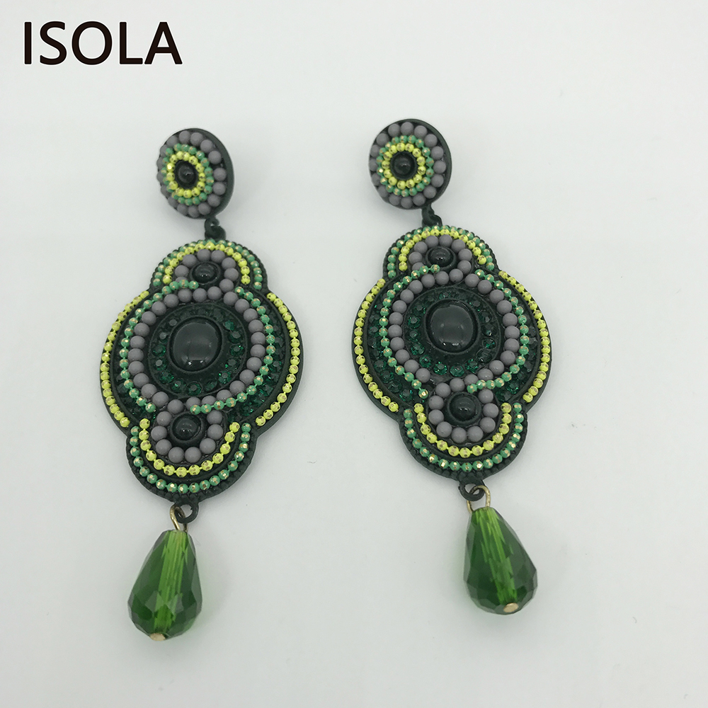 ISOLA Vintage Resin Rhinestone Filled Water Drop Soutache Earring Ethnic Style Charming Boho Earrings For Traditional Festivals