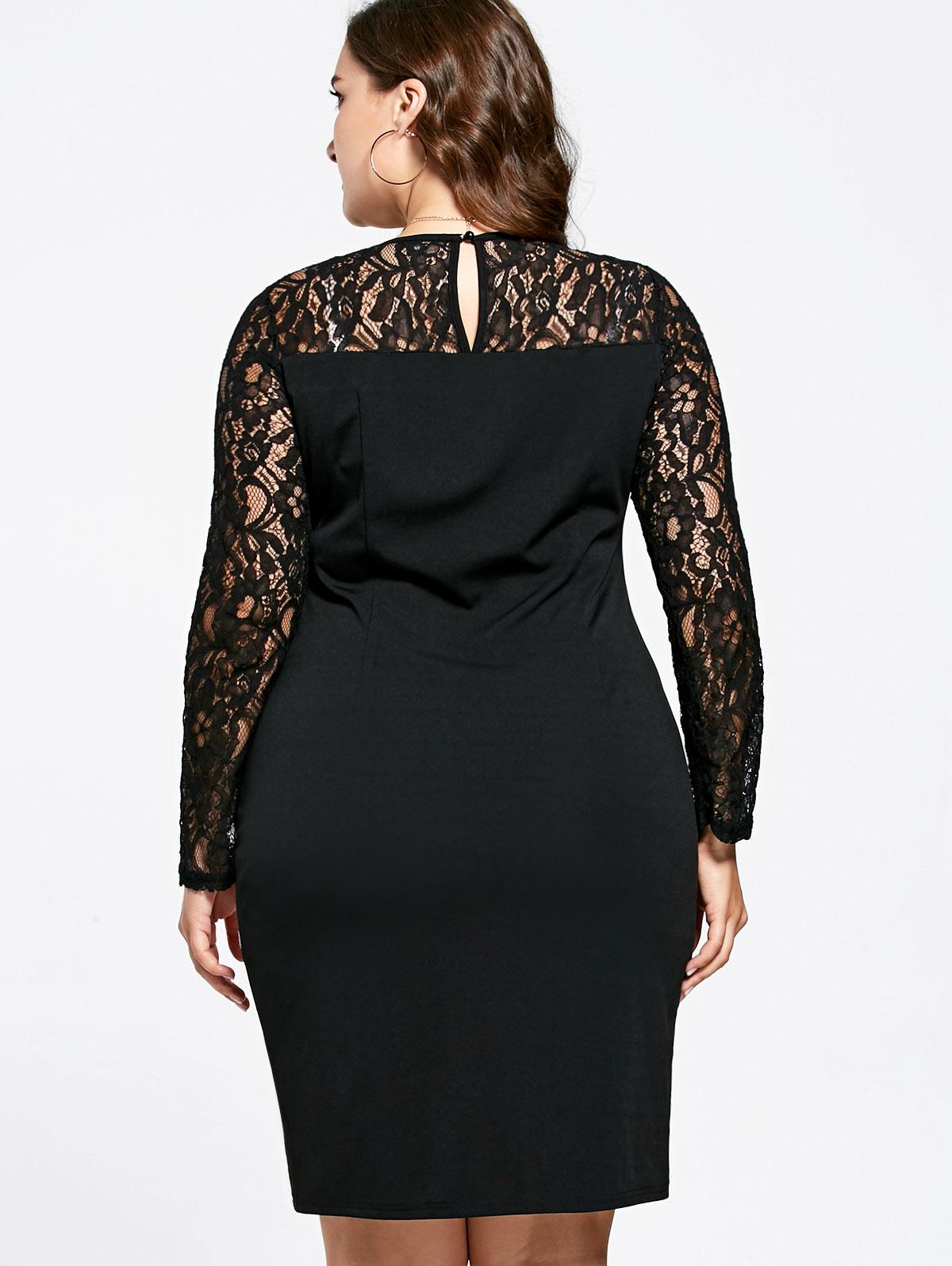 ... Sexy Lace Insert Dresses Asymmetric Long Sleeve Knee Length Bodycon  Dress Vestidos Plus Size XL-5XL. Style  Brief Material  Lace 6b073911d89d