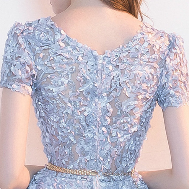 LAMYA Candy Color Appliques Prom Dresses Short Sleeve Evening Party Dress Knee Length A Line Formal Gown Zipper Robe De Soiree 6