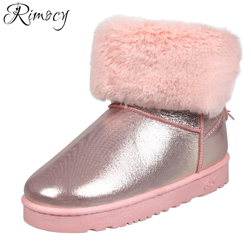 Rimocy thick fur snow boots women platform long plush warm winter shoes woman fashion pink tassel waterproof ankle boots flats  2017 new women snow boots winter fox fur boots suede leisure shoes thick warm short boots plush girls fashion boots black brown