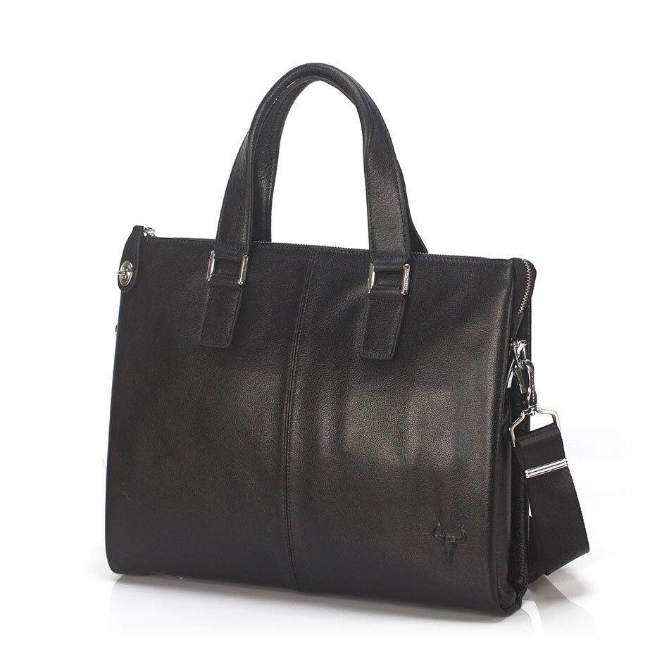 Fashion Cowhide Male Commercial Briefcase Men'S Genuine Leather Lawyer Briefcase Messenger Shoulder Attache Portfolio Tote 255