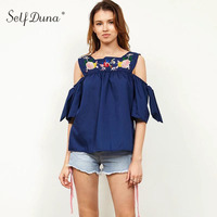 Self Duna 2017 Summer Women Off Shoulder Embroidered Blouse Shirt Bow Ethnic Blue Embroidery Femele Blouse