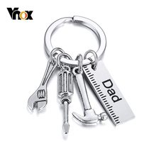 Vnox Love Dad Mom Key Chains with Tools Charm Silver Color Stainless Steel Key Ring Men Woman Accessory(China)