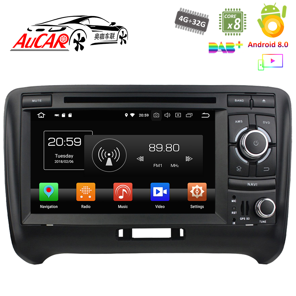 Voiture DVD Android 8.0 pour Audi TT 2006-2013 4 GB RAM 7