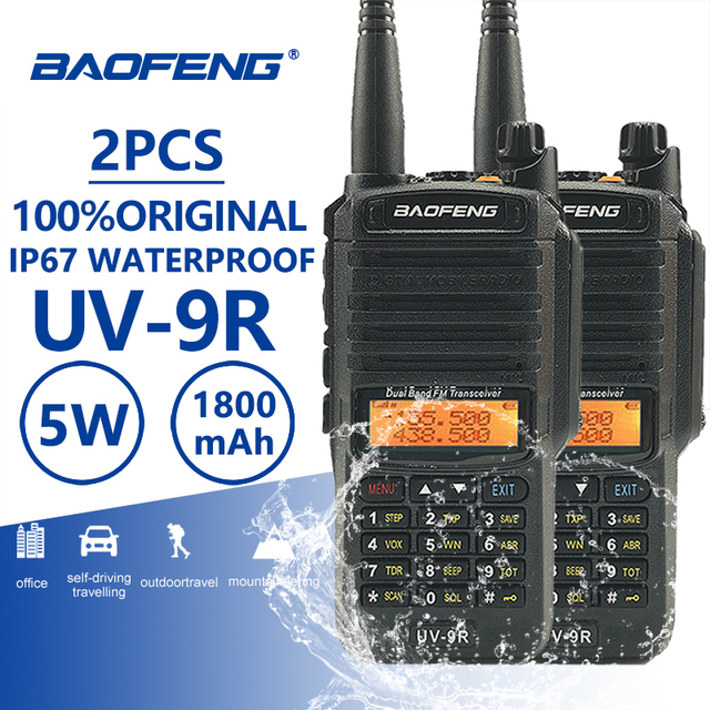 2 piezas Baofeng UV 9R a prueba de polvo Walkie Talkie IP67 impermeable Amateur Radio UV 9R dos Radio CB Ham UV9R 10 km de largo alcance