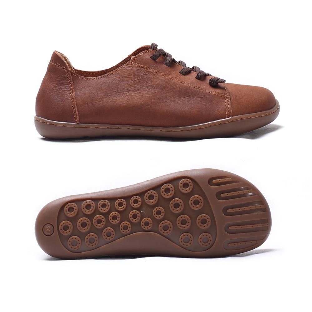 (35-46) femmes Chaussures Plates 100% Cuir Authentique Plaine toe Lace up Dames Chaussures Appartements Femme Mocassins Femme Chaussures (5188- 6) - 2