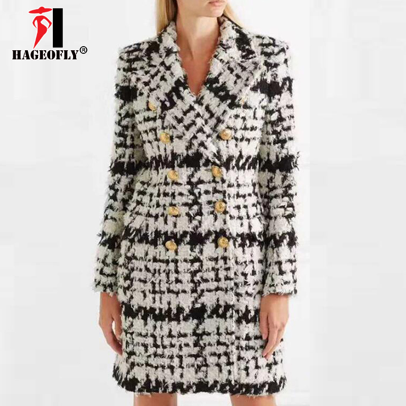 New Winter Plaid Long Wool Blends Stylish Runway 2018 Designer Wool Coat Women Double Breasted Lion