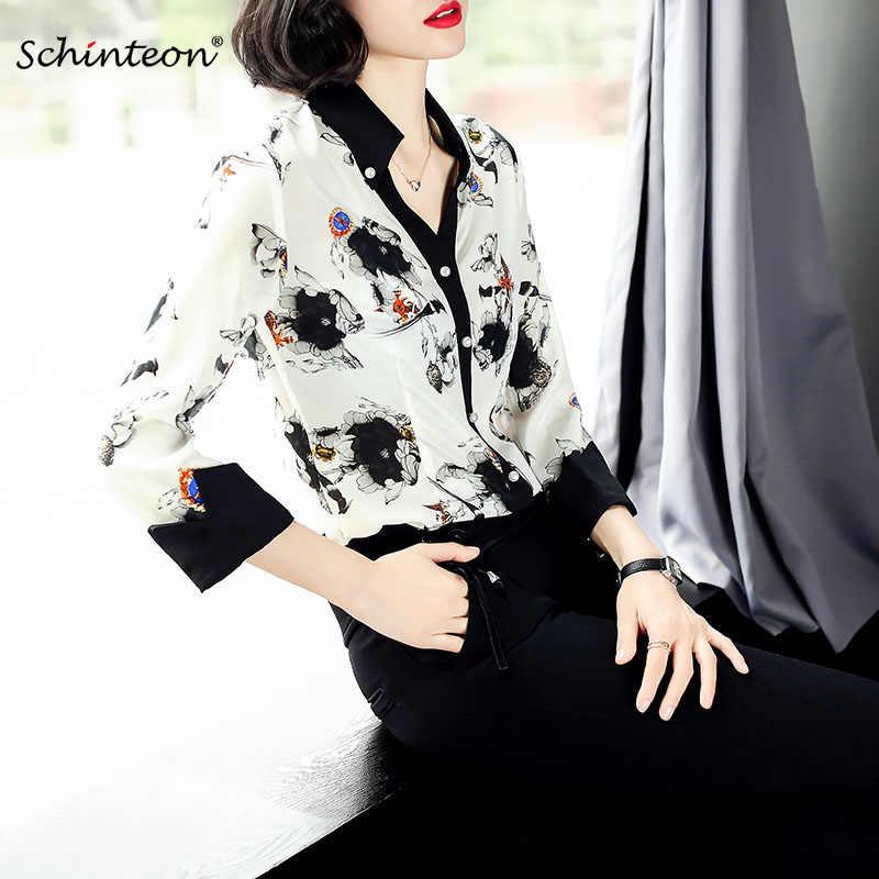 Schinteon 2018 Женская Весенняя летняя 100% блуза из натурального шелка с принтом рубашки с v-образным вырезом Топ в западном стиле