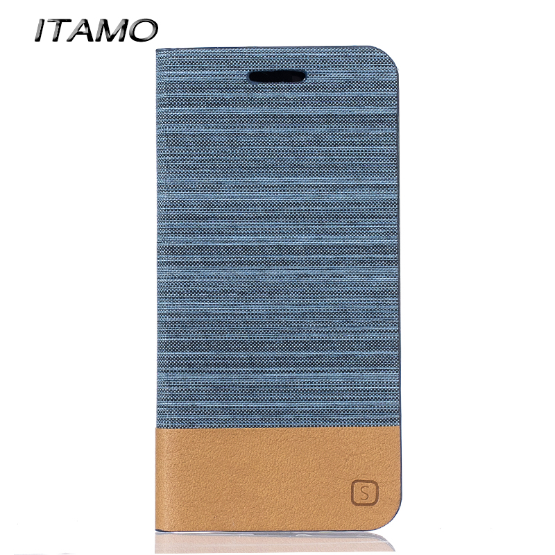 Luxury ITAMO Leather Wallet Case Card Slots Mash Up Canvas Flip Fold Cover for Huawei Honor