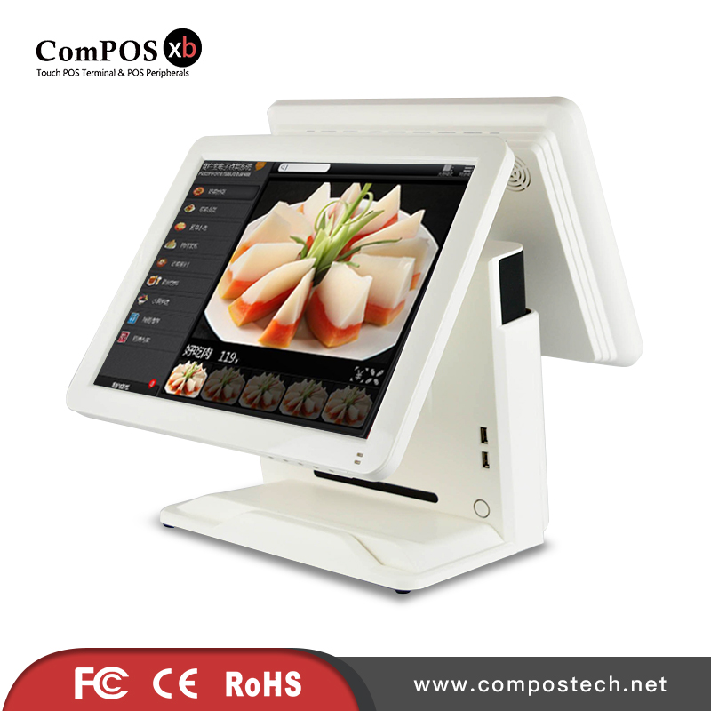 China Cash Register 15 Inch Double Touch POS All In One With 15 Inch POS Resistive Screen For Supermarket