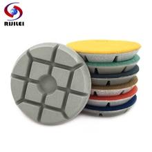 RIJILEI 7PCS/set 4 Floor Polishing Pads 100mm Resin Bond Diamond Pad Wet Concrete Stone Grinding Disc