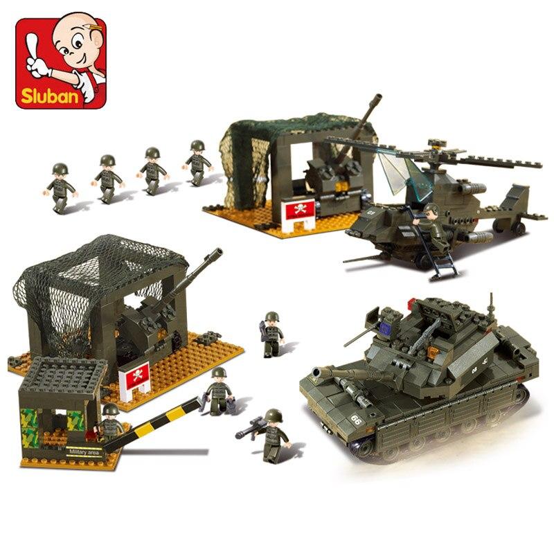 цена на B7100 1086pcs Sluban Military Base Mini Bricks Set Sale Army Headquarters Models & Building Blocks Toys for Children