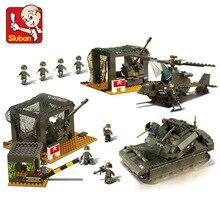 B7100 1086pcs Sluban Military Base Mini Bricks Set Sale Army Headquarters Models & Building Blocks Toys for Children