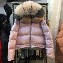 Большой натуральный Лисий Мех, зимняя куртка, женские пуховики, пальто с капюшоном, белый утиный пух, двусторонняя водонепроницаемая куртка