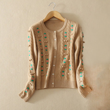 Women's pure cashmere knitted embroidery flowers decor cardigan sweater with single breasted O-neck