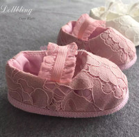 Plush Pink Fancy Ballerina Match Lace Dress Outfit Bridal Flower Girl Gorgeous Wedding babyshoes Christening Custom Infant Shoes