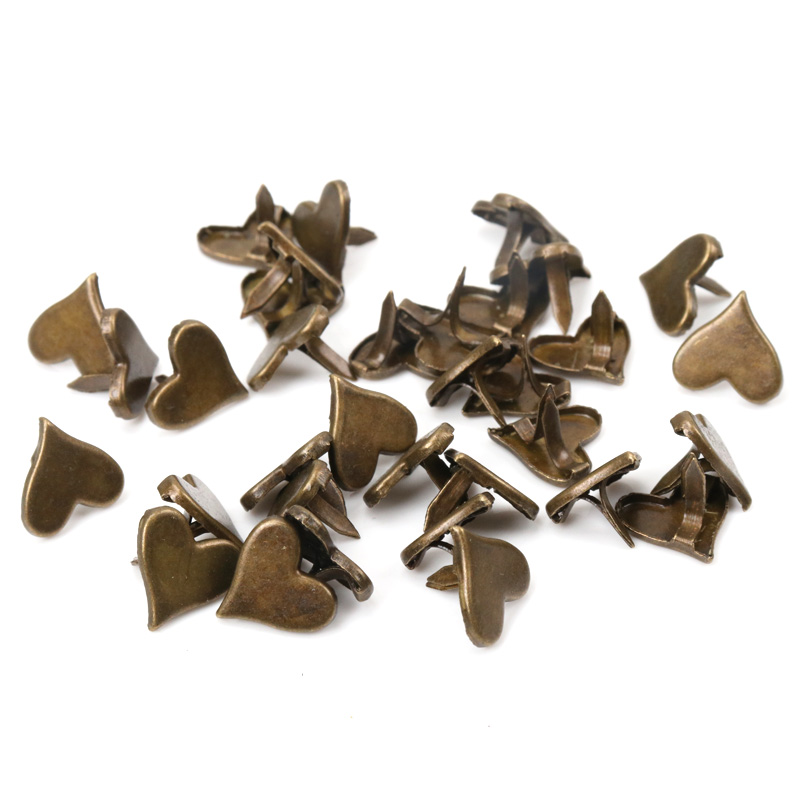 Bronze Heart Brads Scrapbooking Embellishment Fastener Brads Metal Crafts For Shoes Decoration 50PCs 11x10mm CP1514-FD