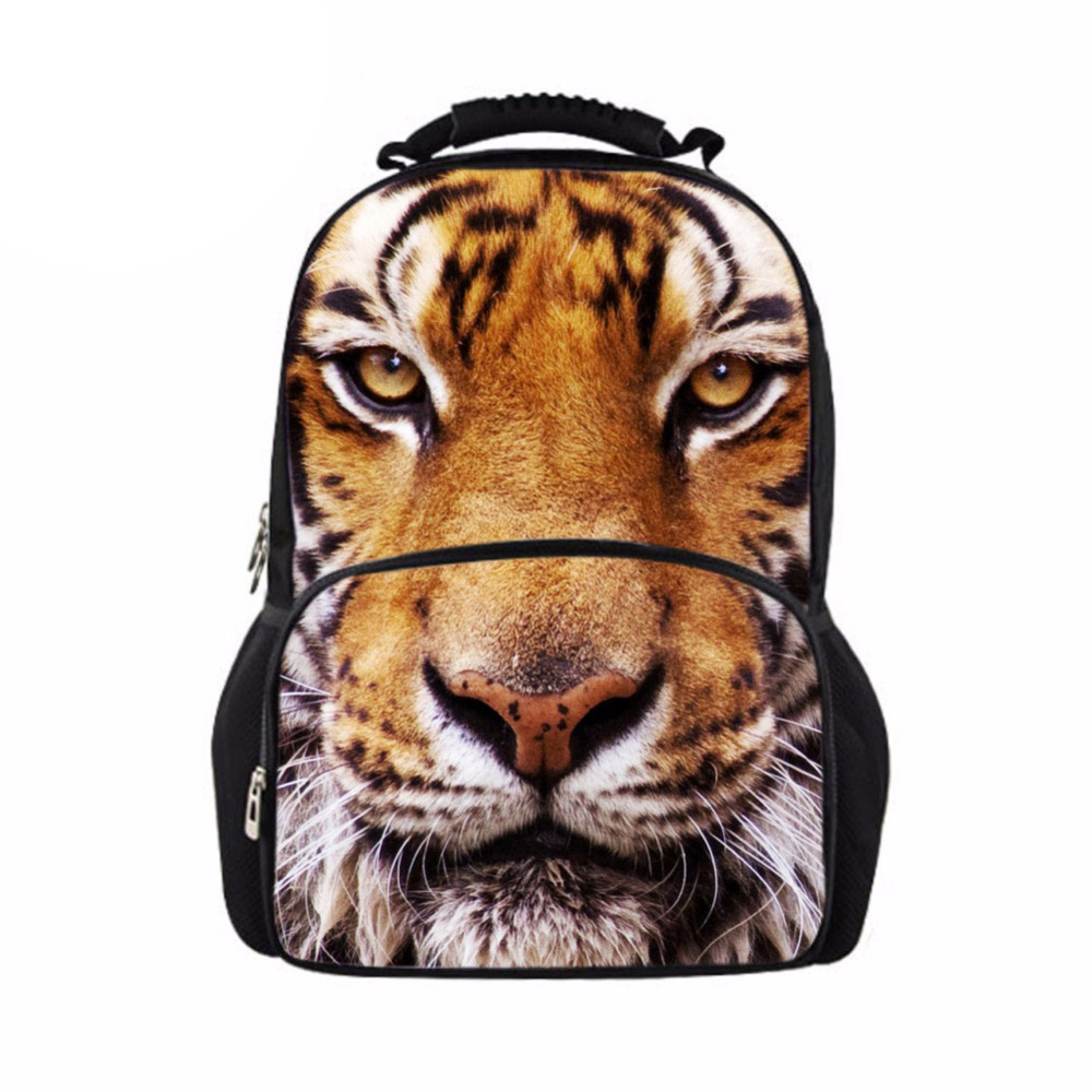 Customized 3D Animal Tiger Printing Mens Backpack for Boy Cool School Bagpack Males Fashion Large Laptop Felt Back Pack Bolsa