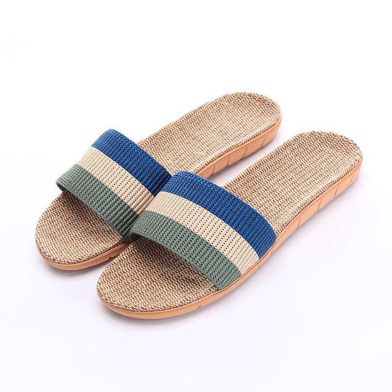 0f6c1545c81b9 US $6.71 30% OFF|Men Slippers Sandals Flip Flops 2018 New Summer Fashion  Breathable Hemp Non slip Shoes Man Home Slides Striped Casual Female-in  Men's ...