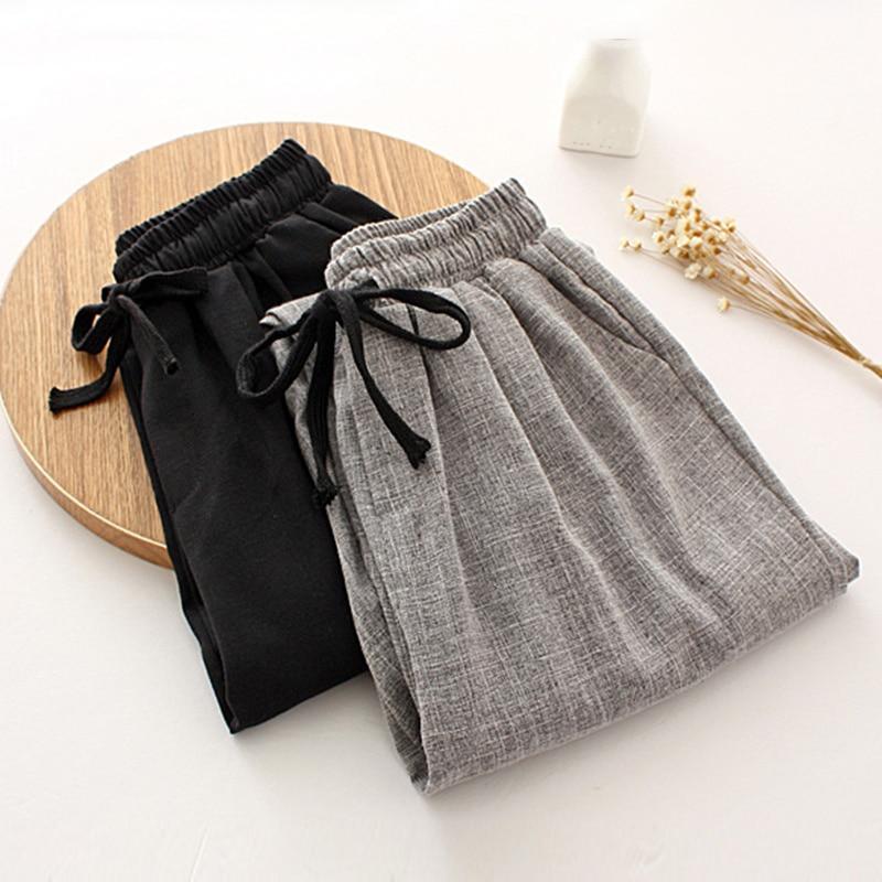Trousers Women Casual Harem Pants Spring Summer Drawstring Waist Cotton Linen Loose Pants Women Sweatpants Plus Size Pants C5299